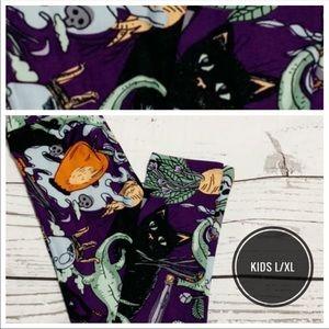 Kids L/XL newt/black cats/poison apple print